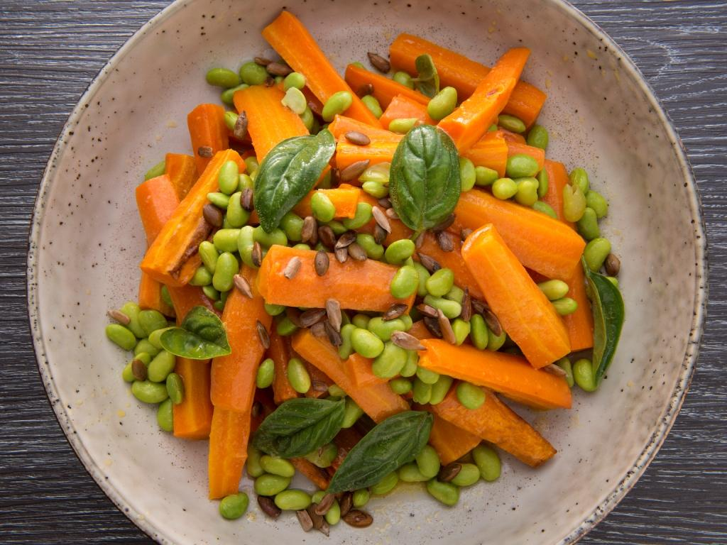 Roasted Carrot and Edamame Bean Side Dish